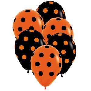 Ballong svart/orange prickar 6st