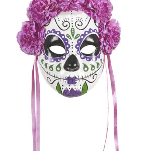 Day of the dead ansiktsmask med rosa blommor