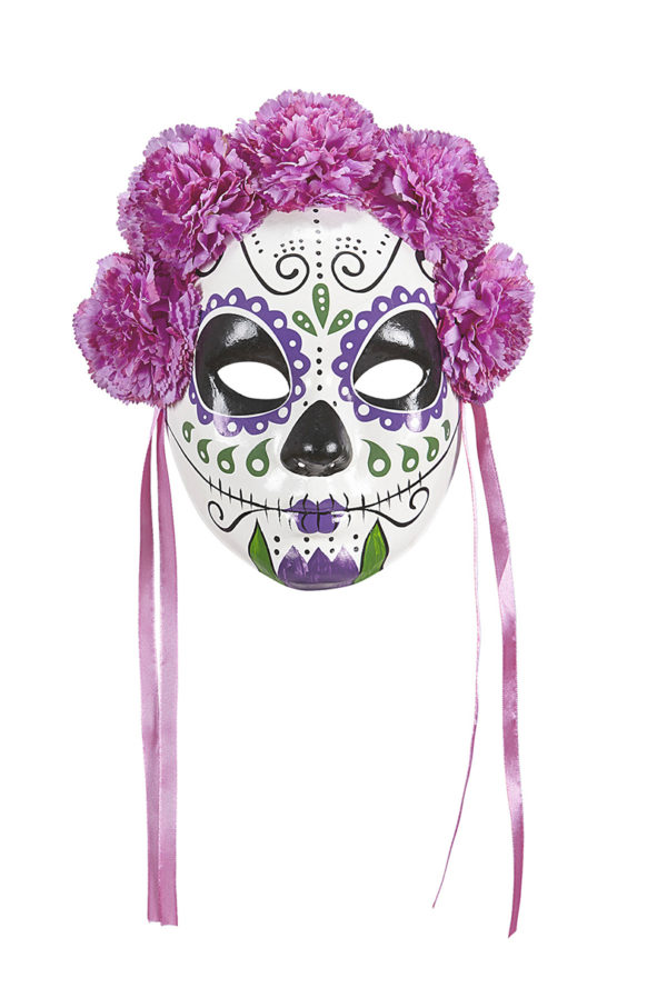 Day of the dead ansiktsmask med rosa blommor