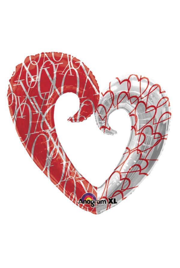 Folieballong hjärta XO