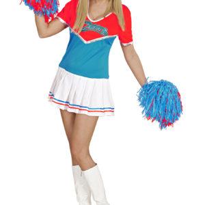 Cheerleaderklänning Röd/Turkos M