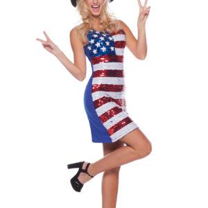 Dräkt USA-klänning med paljetter S/M
