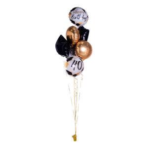 Ballongbukett Marble Birthday 40 Guld/Svart