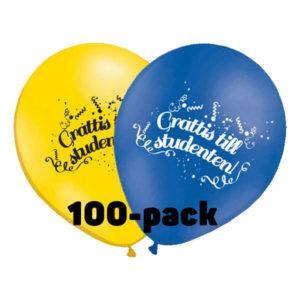 Ballonger Grattis till Studenten! - 100-pack