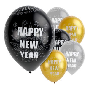 Ballonger Happy New Year Metallic - 6-pack