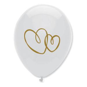 Ballonger Hjärtan Vit/Guld - 100-pack