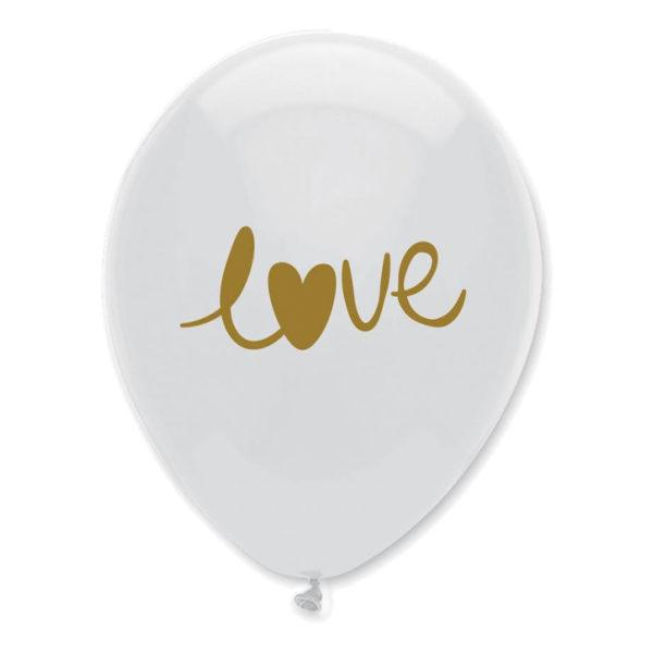 Ballonger LOVE Vit/Guld - 50-pack