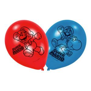 Ballonger Super Mario Blå/Röd - 6-pack