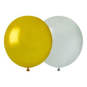 Ballongkombo Guld/Silver Runda Stora - 10-pack