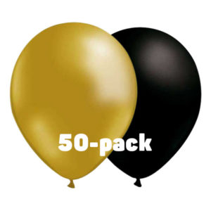 Ballongkombo Guld/Svart - 50-pack