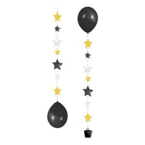 Ballongsvansar Stjärnor Guld/Silver - 3-pack