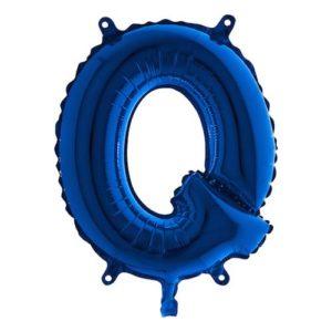 Bokstavsballong Mini Blå Metallic - Bokstav Q