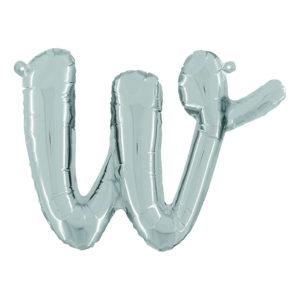 Bokstavsballong Script Silver - Bokstav W