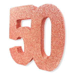 Bordsdekoration Siffra 50 Roséguld Glitter