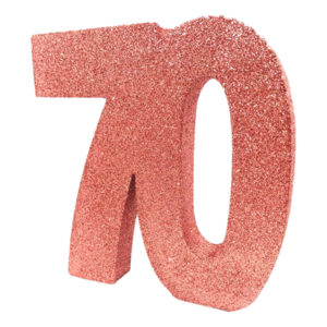 Bordsdekoration Siffra 70 Roséguld Glitter