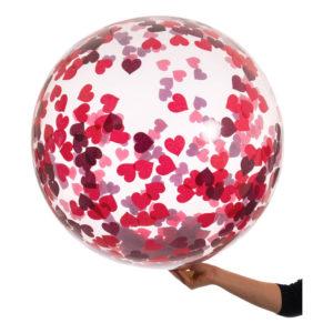 Bubbelballong med Konfetti Röda Hjärtan - 1-pack