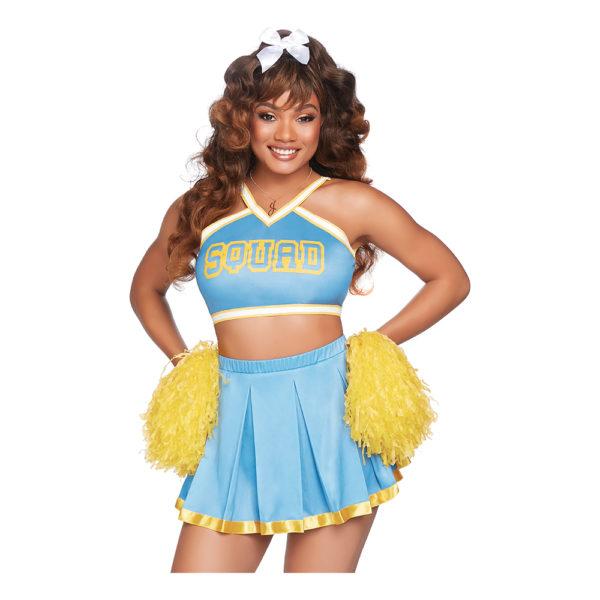 Cheerleader Ljusblå Deluxe Maskeraddräkt - Medium/Large