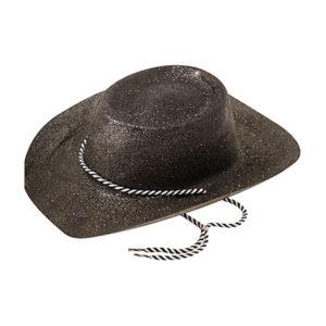 Cowboyhatt Svart med Glitter - One size