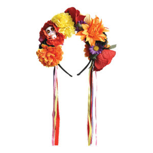 Day of the Dead Diadem med Blommor - One size
