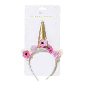 Diadem Enhörning med Blommor - One size