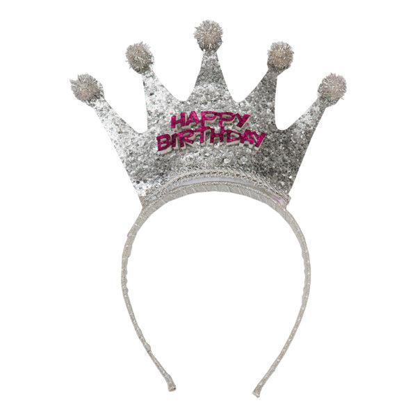 Diadem Happy Birthday med Krona - One size