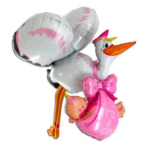 Folieballong Baby Girl Stork
