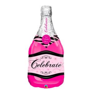 Folieballong Champagneflaska Rosa