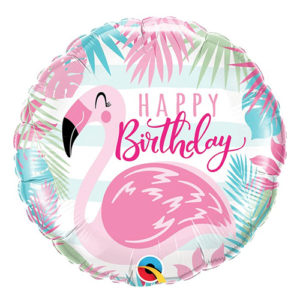 Folieballong Flamingo Happy Birthday