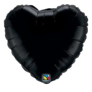 Folieballong Hjärta Svart