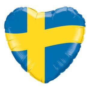 Folieballong Hjärta med Svenska Flaggan
