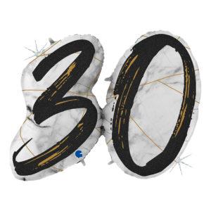 Folieballong Marble Mate 30 Svart Shape - 1-pack