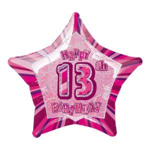 Folieballong Rosa Stjärna 13