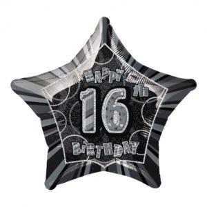 Folieballong Svart Stjärna 16