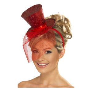 Glittrig Minihatt - Röd