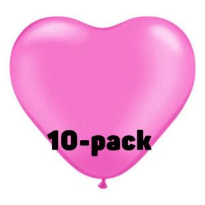 Hjärtballonger Rosa - 10-pack
