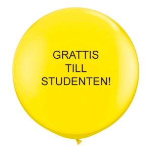 Jätteballong Grattis till Studenten - Gul