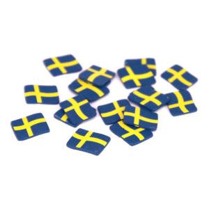 Konfetti Sverigeflaggor i Trä - 25-pack