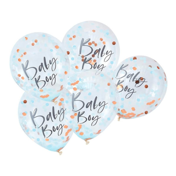 Konfettiballonger Baby Boy - 5-pack