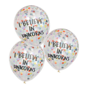 Konfettiballonger I Believe In Unicorns - 5-pack