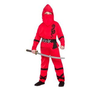 Ninja Röd Barn Maskeraddräkt - Small