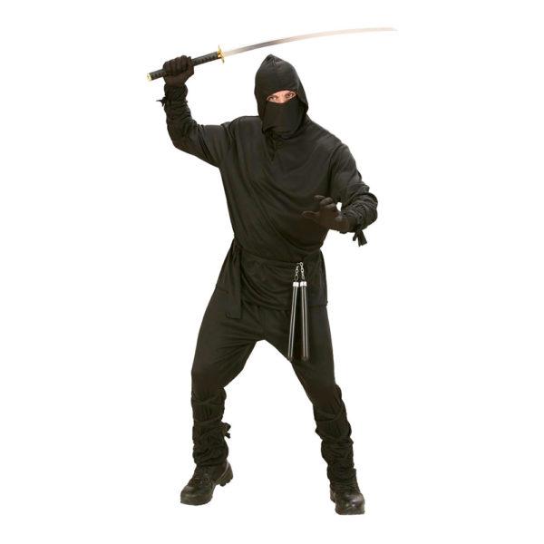Ninja Svart Maskeraddräkt - Medium