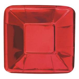Pappersassietter Små Röd Metallic - 8-pack