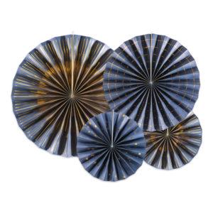 Pappersfjädrar Blå Mix Hängande Dekoration - 4-pack