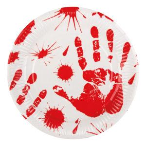 Papperstallrikar Blodiga Handavtryck - 6-pack