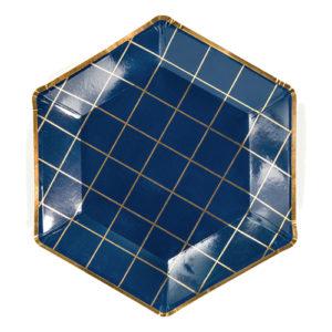 Papperstallrikar Celebrate Blå Hexagon - 6-pack