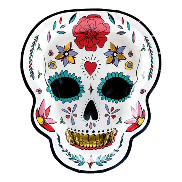 Papperstallrikar Dia de Los Muertos Döskalle - 6-pack