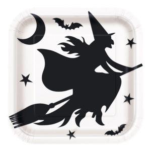 Papperstallrikar Kvadrat Halloween Fladdermöss - 8-pack