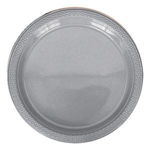 Plasttallrikar Silver - 20-pack