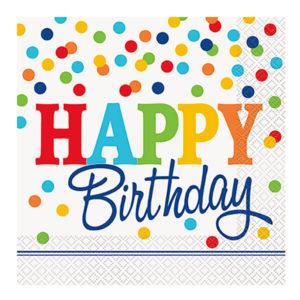 Servetter Polka Dot Happy Birthday - 16-pack