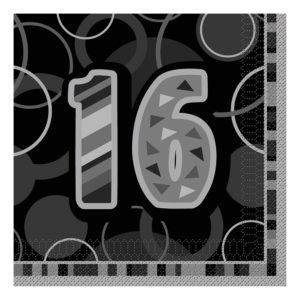 Servetter Svart 16 - 16-pack
